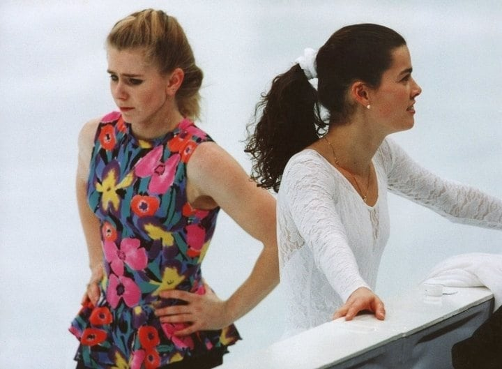 Tonya Harding and Nancy Kerrigan share ice 1994 olympics