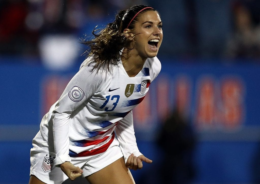 Alex Morgan #13 of the United States celebrates her goal against Canada in the CONCACAF Women's Championship