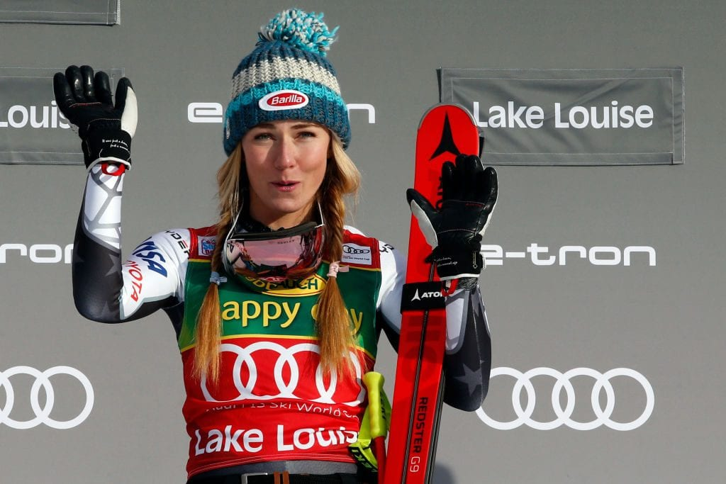 Mikaela Shiffrin of USA takes 1st place during the Audi FIS Alpine Ski World Cup Women's Super G