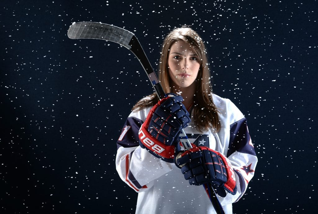 Ice hockey player Hilary Knight poses for a portrait during the USOC Portrait Shoot