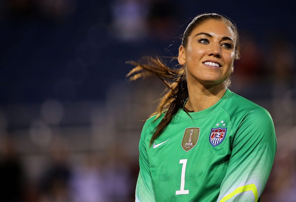 Hope Solo #1 of the United States looks on after winning a match against Germany in the 2016 SheBelieves Cup at FAU Stadium