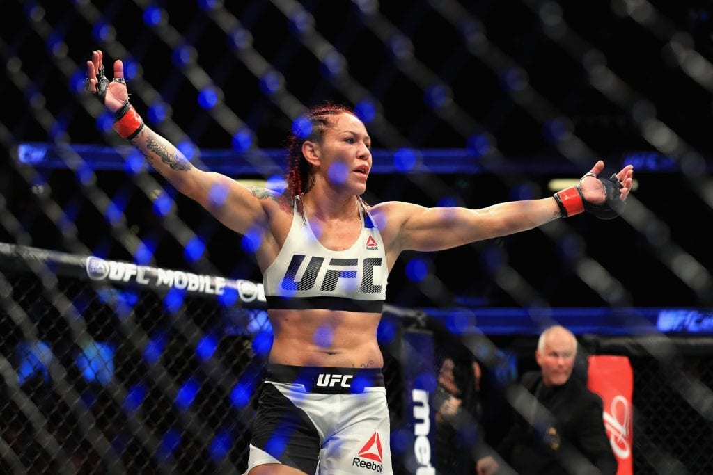 Cris Cyborg of Brazil reacts to defeating Tonya Evinger