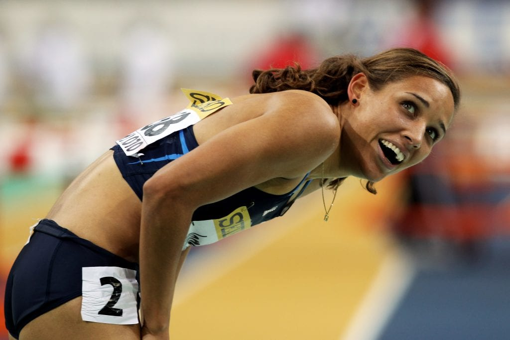 Lolo Jones of United States celebrates winning gold in the Womens 60m Hurdles Final