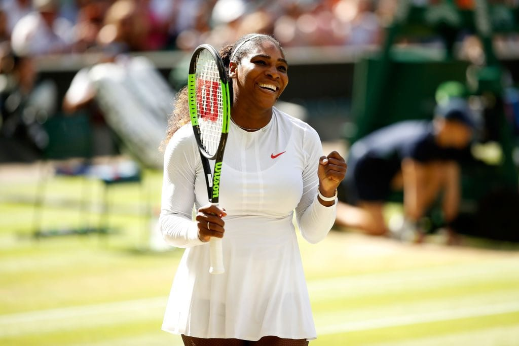 Serena Williams of the United States celebrates winning her Ladies' Singles Quarter-Finals