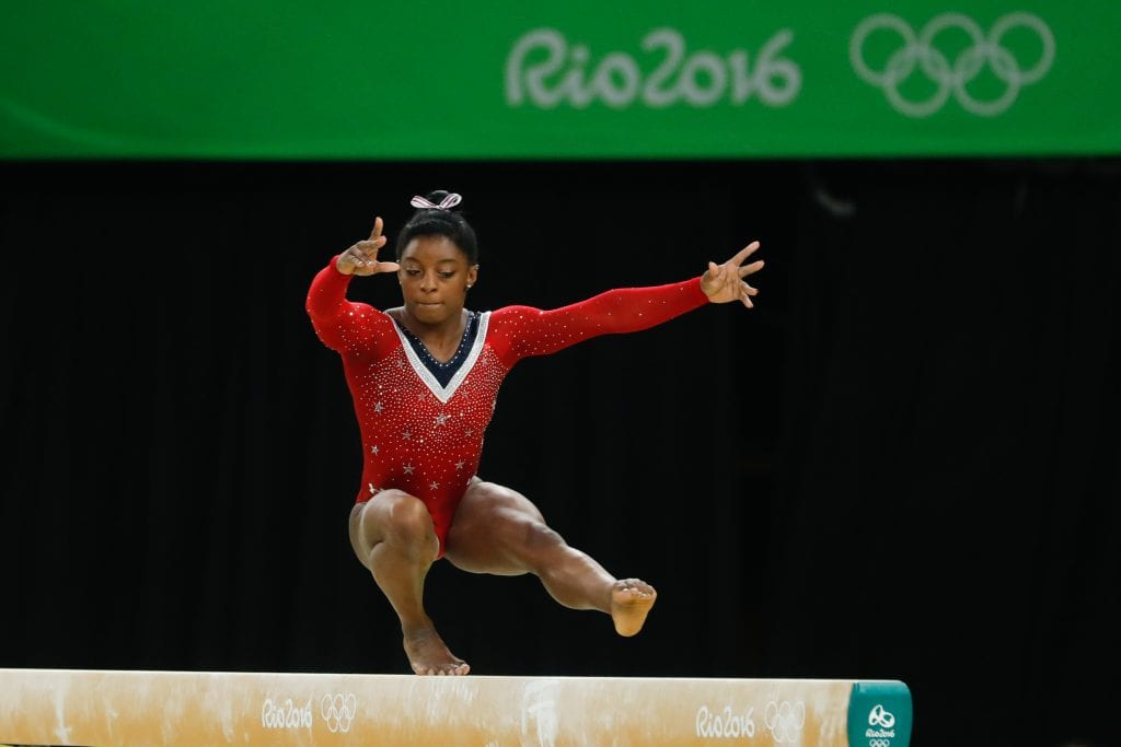 USA Olympic gold medalist Simone Biles during the 2016 Summer Olympics in Rio, Brazil