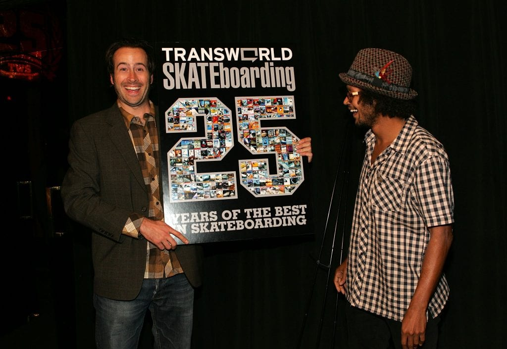 HOLLYWOOD - JUNE 07: (L-R) Professional Skateboarders and Actors, Chris Pastras and Jason Lee attend the transworld skateboarding magazine's skate awards and 25th anniversary celebrations at the Avalon Hotel on June 7, 2007 in Hollywood, California. (Photo by Marsaili McGrath/Getty Images for Transworld Skate Magazines)