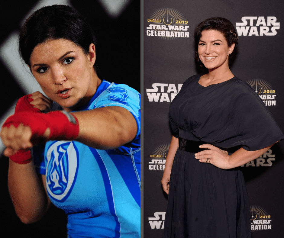 "MMA Superstar Gina Carano is seen during the Workout/Media Day with Kimbo Slice and Gina Carano at the Legends Mixed Martial Arts Training Center on September 17, 2008 in Los Angeles, California. (Photo by Robert Laberge/Getty Images) | Gina Carano (Cara Dune) attends ""The Mandalorian"" panel at the Star Wars Celebration at McCormick Place Convention Center on April 14, 2019 in Chicago, Illinois. (Photo by Daniel Boczarski/WireImage for Disney)"