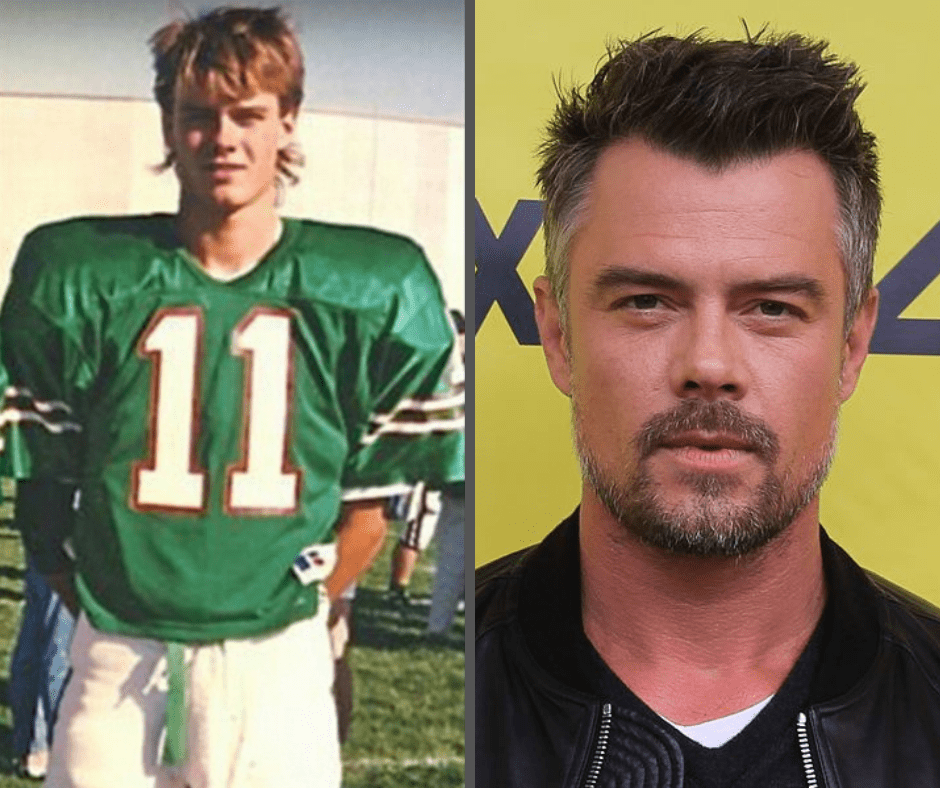 Josh Duhamel as a football player in college, headshot of Josh Dumahel as an actor