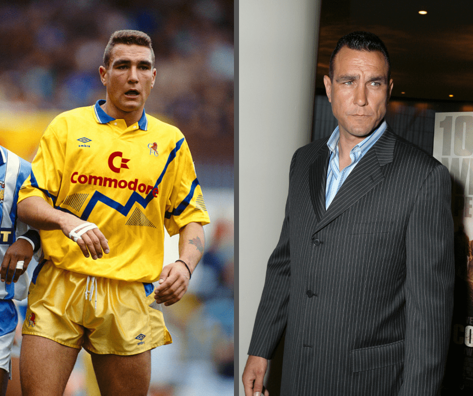 Chelsea player Vinnie Jones in action during a League Division One match between Coventry City and Chelsea at Highfield Road on November 2, 1991 in Coventry, England. (Photo by Ben Radford/Allsport/Getty Images) | Vinnie Jones during Lionsgate Special Cast and Crew Screening of 'The Condemned' at Arclight Cinemas in Los Angeles, California, United States. (Photo by E. Charbonneau/WireImage for LIONSGATE)