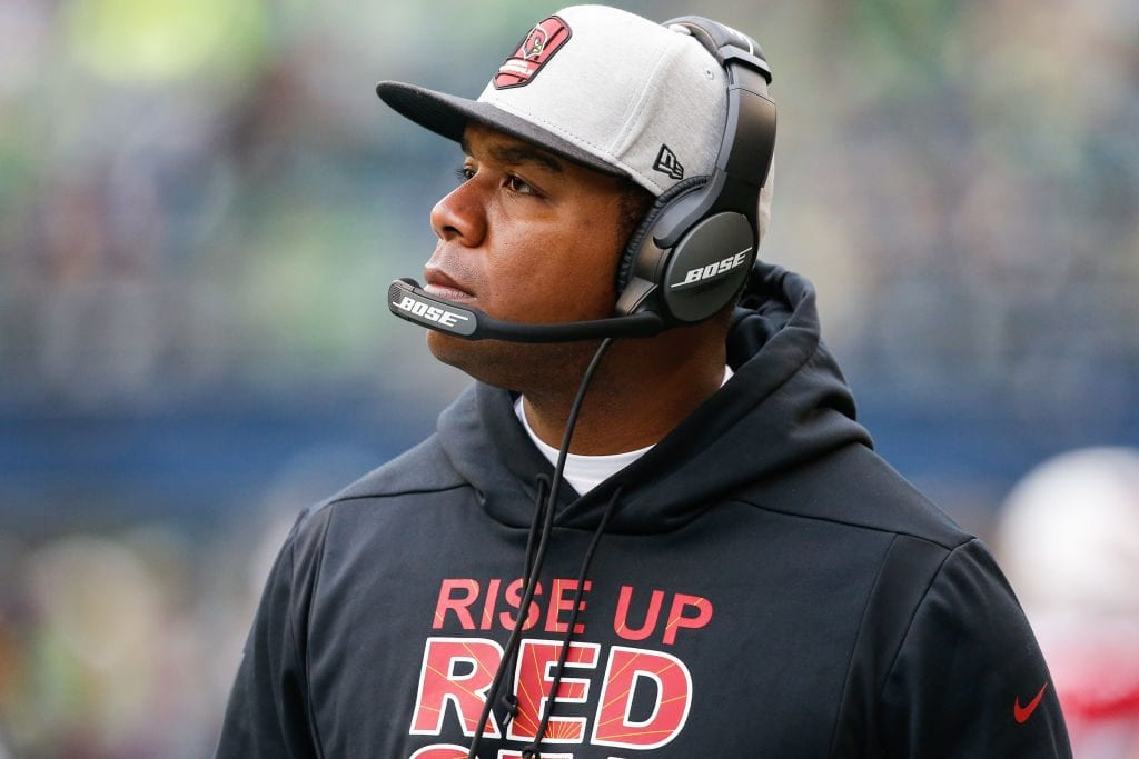 Arizona Cardinals coach Byron Leftwich in a game v Seattle Seahawks