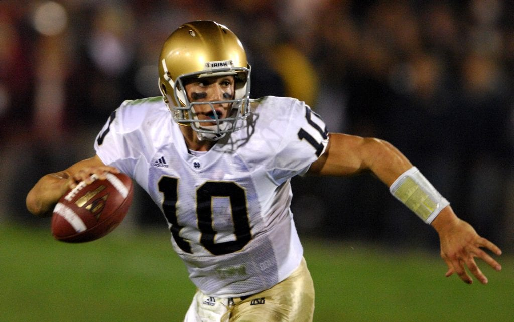 NCAA Football - Notre Dame quarterback Brady Quinn vs USC