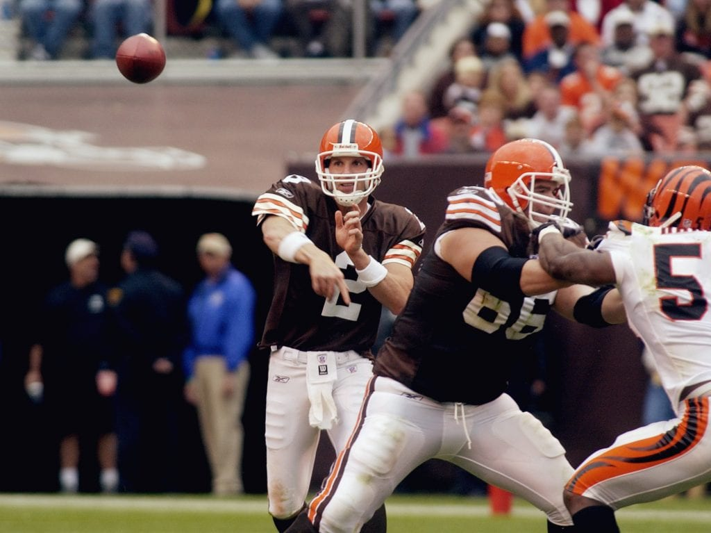 Tim Couch throws a pass