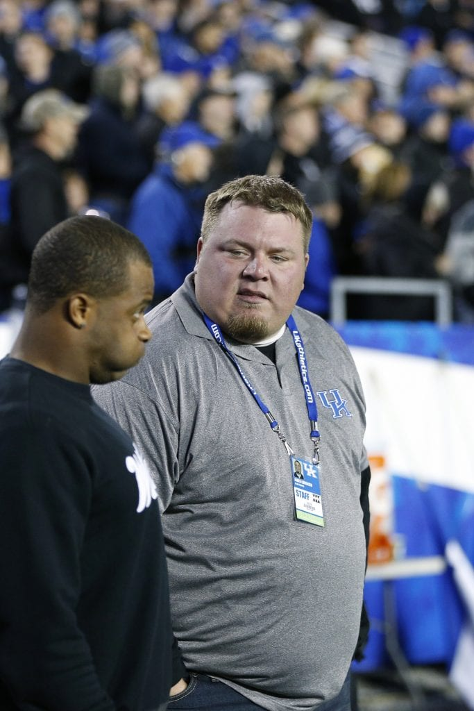 Former Kentucky Wildcats quarterback Jared Lorenzen talks with former wide receiver and current Green Bay Packers player Randall Cobb