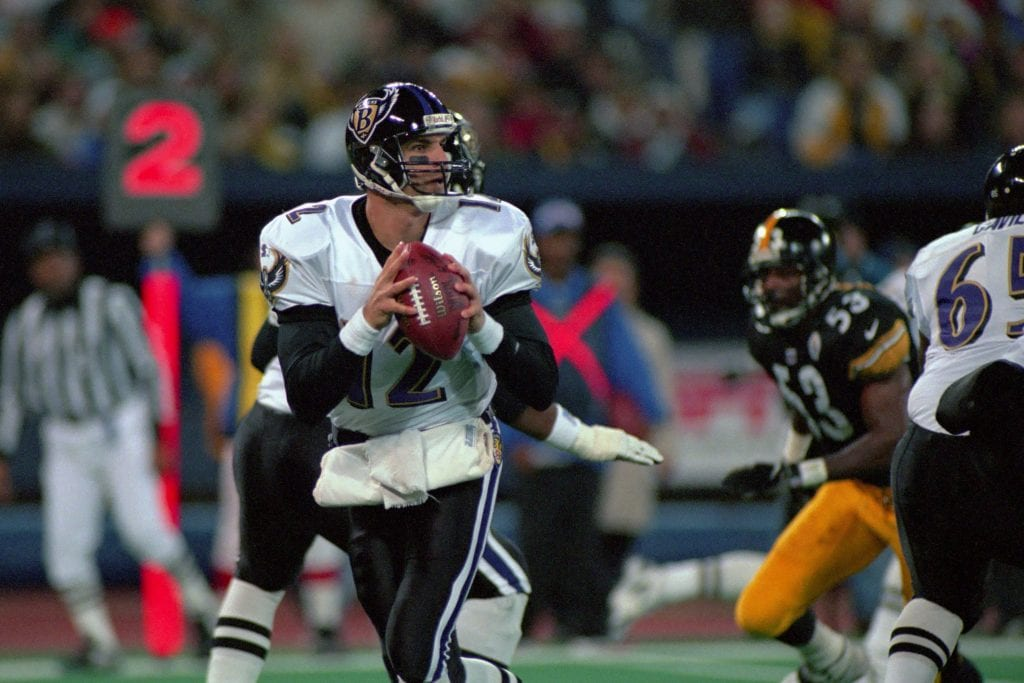 Quarterback Vinny Testaverde #12 of the Baltimore Ravens