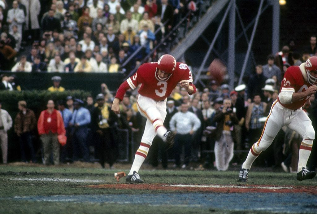 NEW ORLEANS, LA - JANUARY 11: Kicker Jan Stenerud of the Kansas City Chiefs kicks off against the Minnesota Vikings in Super Bowl IV on January 11, 1970 at Tulane Stadium in New Orleans, Louisiana. The Chiefs won the Super Bowl 23 -7. (Photo by Focus on Sport/Getty Images)