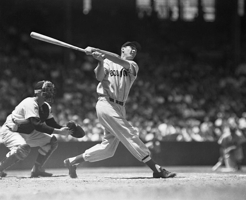 Ted Williams Making a Hit