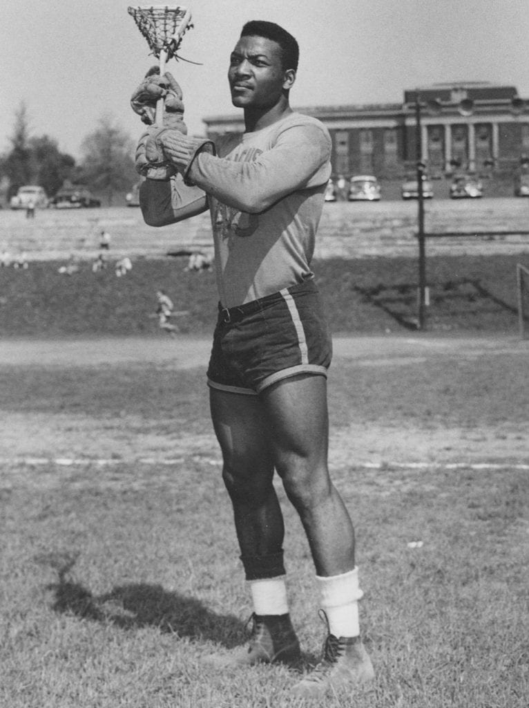 SYRACUSE, NY- CIRCA 1955-57: Jim Brown as a lacrosse player at Syracuse University lacrosse player in Syracuse, New York. (Photo by Syracuse/Collegiate Images via Getty Images)