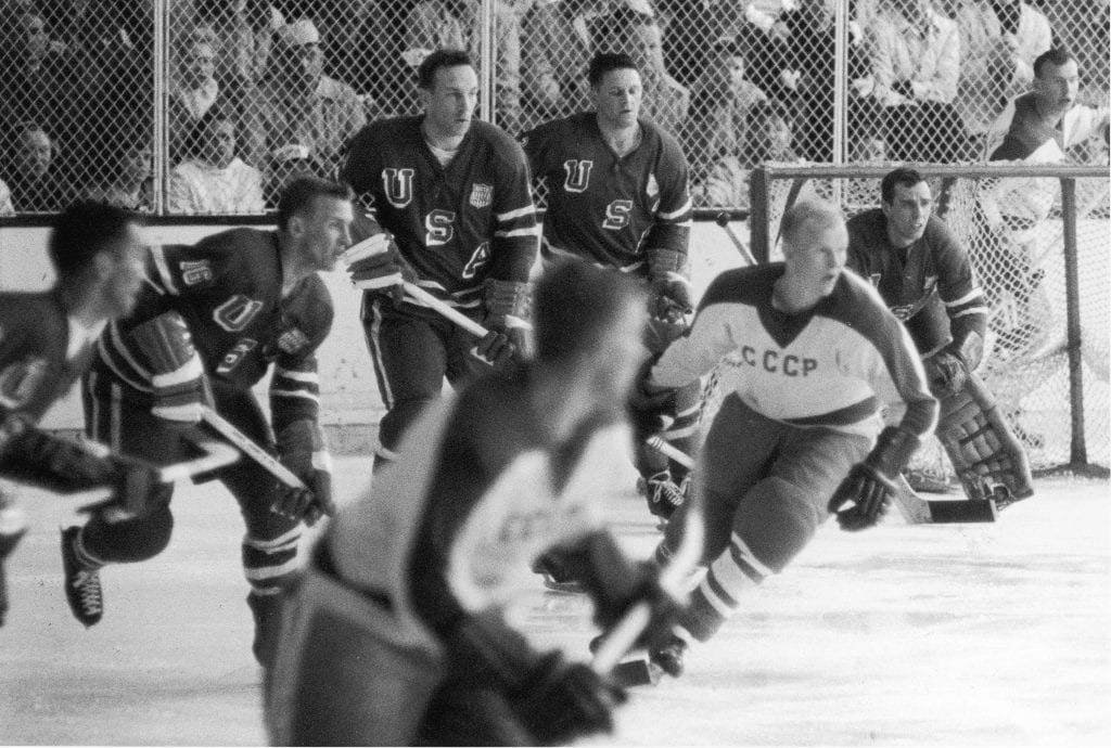 American professional hockey player John Mayasich (third from left), defenseman for Team USA, on the ice during the final round of men's ice hockey with the Soviet Team at the 1960 Winter Olympics in Blyth Arena at the Squaw Valley Ski Resort, Olympic Valley, California, February 27, 1960.