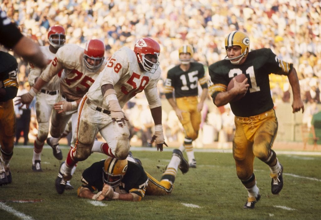 Green Bay Packers Hall of Fame fullback Jim Taylor (31) carries the ball during Super Bowl I