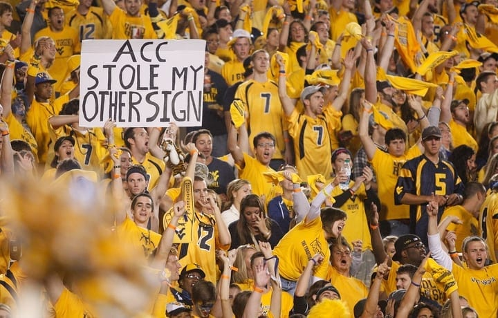 west virginia college football sign