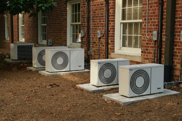 air conditioning units on the outside of a building