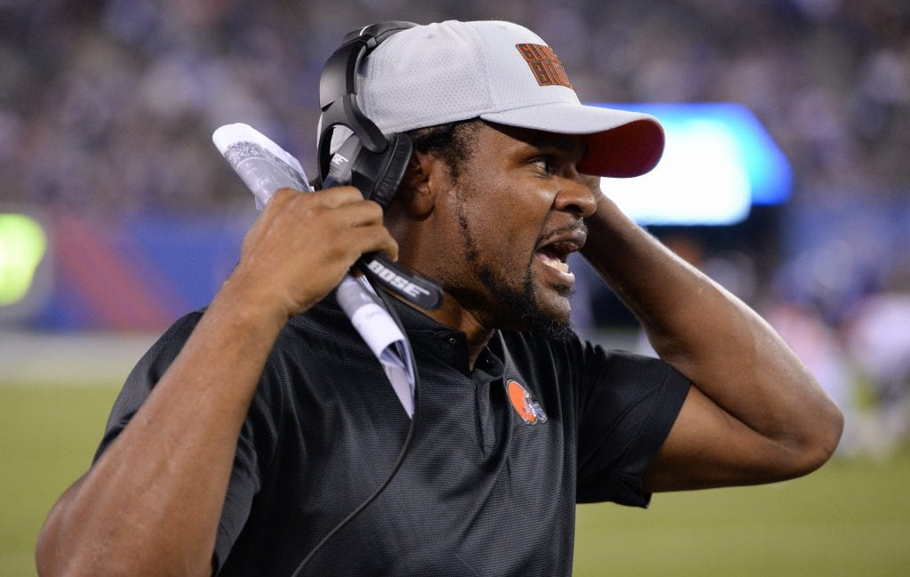 Assistant coach Joshua Cribbs yells instructions from the sideline in the fourth quarter of a preseason game against the New York Giants at MetLife Stadium