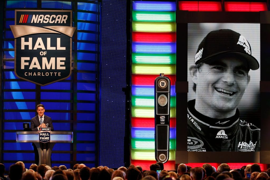 Jeff Gordon speaks on stage as he is inducted into the NASCAR Hall of Fame during the 2019 NASCAR Hall of Fame Induction Ceremony