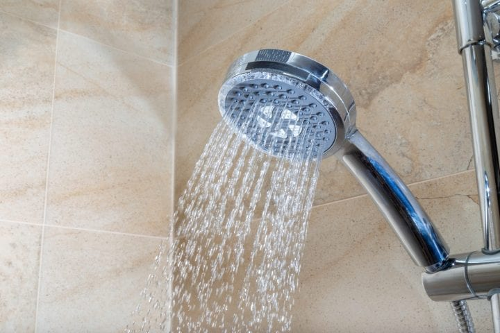 a showerhead ejecting water