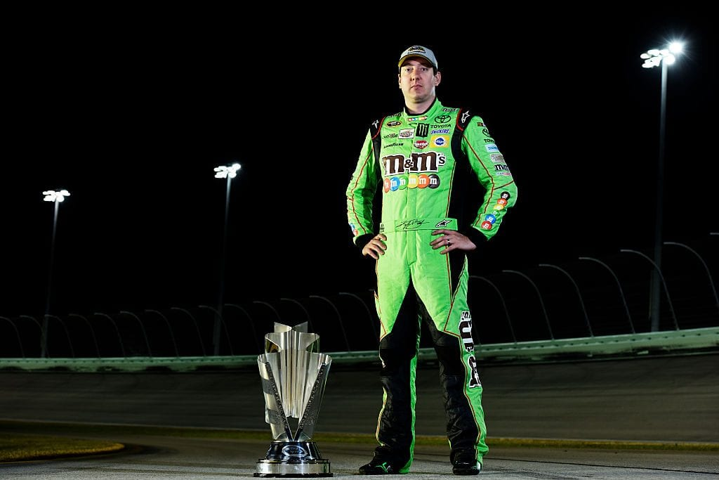 NASCAR Sprint Cup Series champion Kyle Busch, driver of the #18 M&M's Crispy Toyota