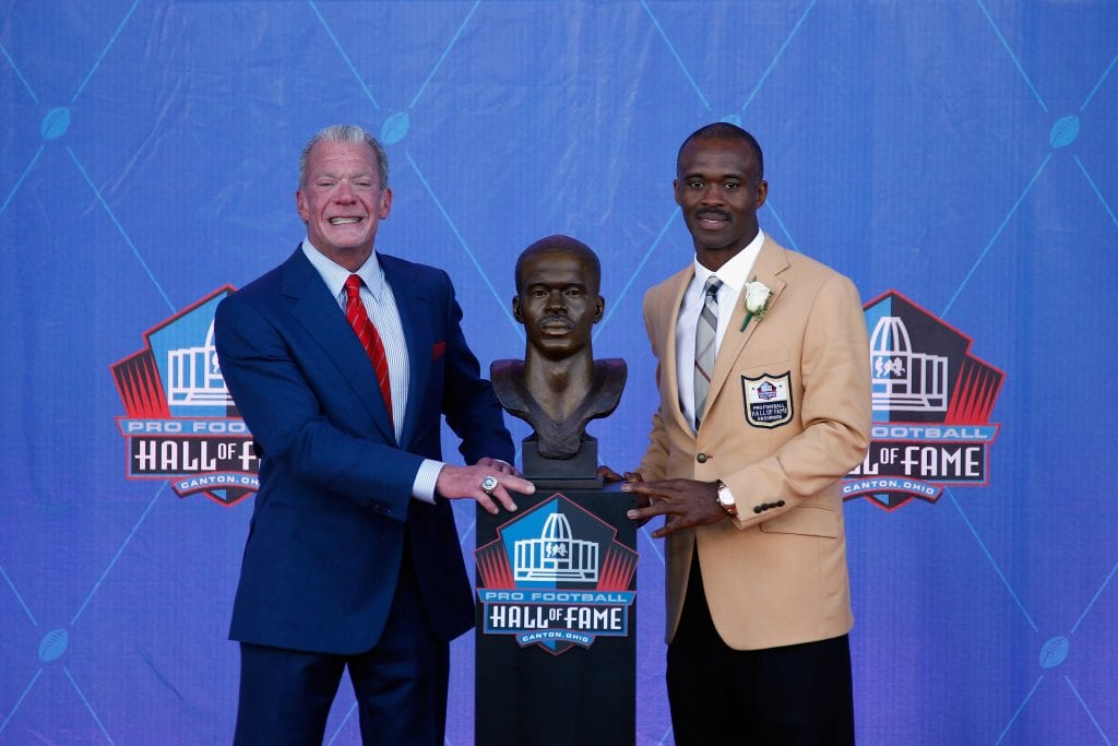 Marvin Harrison (R), former NFL wide receiver and HOF inductee, and Jim Irsay (L), Indianapolis Colts Owner and presenter for Harrison