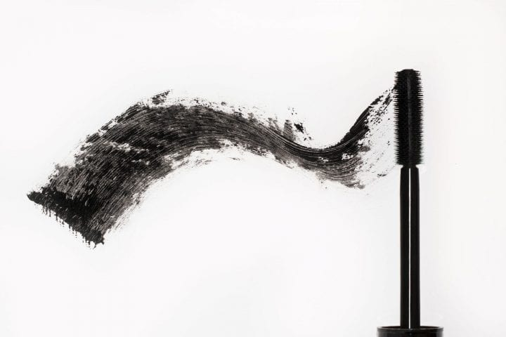 Black mascara. Brush and smear of carcass