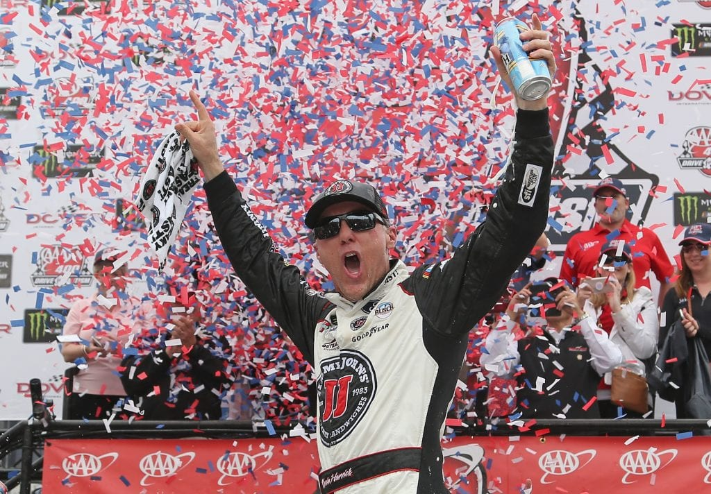 Kevin Harvick, driver of the #4 Jimmy John's Ford, celebrates in victory lane after winning the Monster Energy NASCAR Cup Series