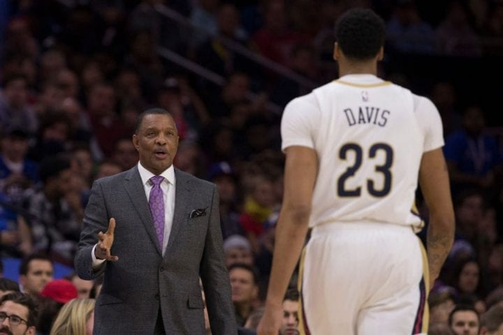PHILADELPHIA, PA - NOVEMBER 21: Head coach Alvin Gentry of the New Orleans Pelicans talks to Anthony Davis #23 against the Philadelphia 76ers at the Wells Fargo Center on November 21, 2018 in Philadelphia, Pennsylvania. NOTE TO USER: User expressly acknowledges and agrees that, by downloading and or using this photograph, User is consenting to the terms and conditions of the Getty Images License Agreement. (Photo by Mitchell Leff/Getty Images)
