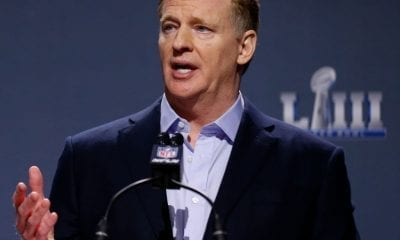 ATLANTA, GA - JANUARY 30: NFL Commissioner Roger Goodell speaks during a press conference during Super Bowl LIII Week at the NFL Media Center inside the Georgia World Congress Center on January 30, 2019 in Atlanta, Georgia. (Photo by Mike Zarrilli/Getty Images)