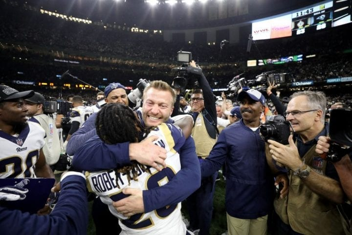 NEW ORLEANS, LOUISIANA - JANUARY 20: Head coach Sean McVay of the Los Angeles Rams celebrates after defeating the New Orleans Saints in the NFC Championship game at the Mercedes-Benz Superdome on January 20, 2019 in New Orleans, Louisiana. The Los Angeles Rams defeated the New Orleans Saints with a score of 26 to 23.