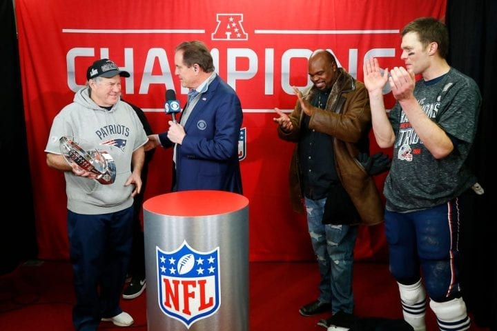 KANSAS CITY, MISSOURI - JANUARY 20: Head coach Bill Belichick of the New England Patriots holds the Lamar Hunt Trophy after defeating the Kansas City Chiefs during the AFC Championship Game at Arrowhead Stadium on January 20, 2019 in Kansas City, Missouri. The New England Patriots defeated the Kansas City Chiefs 37-31. (Photo by Jamie Squire/Getty Images)