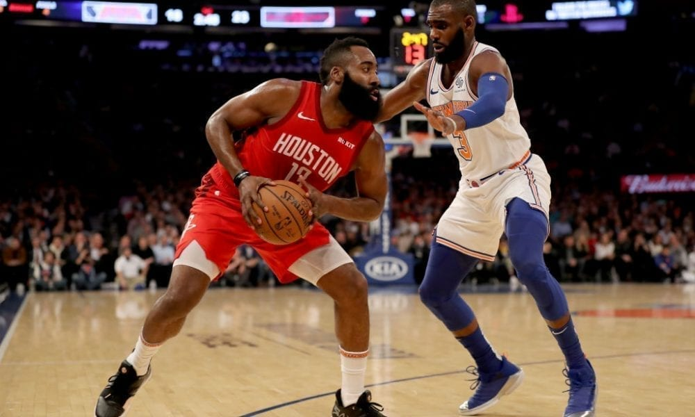 NEW YORK, NEW YORK - JANUARY 23: James Harden #13 of the Houston Rockets tries to get around Tim Hardaway Jr. #3 of the New York Knicks in the first quarter at Madison Square Garden on January 23, 2019 in New York City.NOTE TO USER: User expressly acknowledges and agrees that, by downloading and or using this photograph, User is consenting to the terms and conditions of the Getty Images License Agreement. (Photo by Elsa/Getty Images)