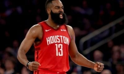 NEW YORK, NEW YORK - JANUARY 23: James Harden #13 of the Houston Rockets celebrates after teammate Gerald Green dunked in the third quarter against the New York Knicks at Madison Square Garden on January 23, 2019 in New York City.NOTE TO USER: User expressly acknowledges and agrees that, by downloading and or using this photograph, User is consenting to the terms and conditions of the Getty Images License Agreement. (Photo by Elsa/Getty Images)