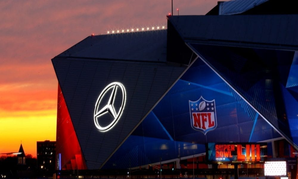 ATLANTA, GEORGIA - JANUARY 27: An exterior view of the Mercedes-Benz Stadium is seen on January 27, 2019 in Atlanta, Georgia. (Photo by Justin Heiman/Getty Images)