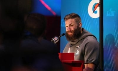ATLANTA, GEORGIA - JANUARY 28: Julian Edelman #11 of the New England Patriots talks to the media during Super Bowl LIII Opening Night at State Farm Arena on January 28, 2019 in Atlanta, Georgia. (Photo by Rob Carr/Getty Images)