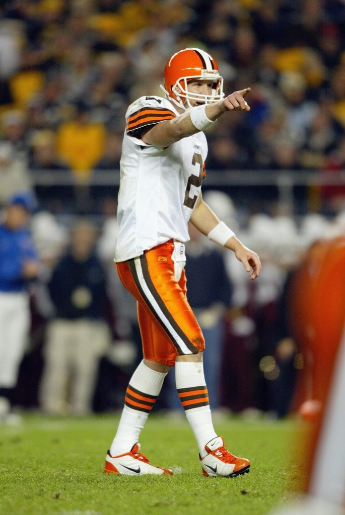Quarterback Tim Couch #2 of the Cleveland Browns points