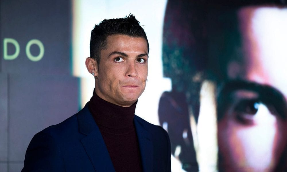 MADRID, SPAIN - MARCH 03: Cristiano Ronaldo presents his fragance 'Cristiano Ronaldo Legacy' at World Duty Free store at Barajas airport on March 3, 2016 in Madrid, Spain. (Photo by Gonzalo Arroyo Moreno/Getty Images)