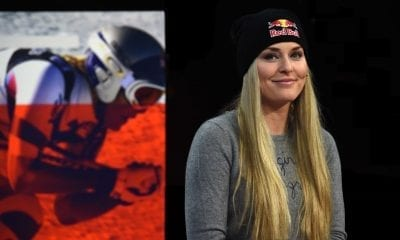 ST MORITZ, SWITZERLAND - FEBRUARY 08: Lindsey Vonn visits the Eurosport studio in St Moritz for an interview by lead presenter and former Olympic triple-jump champion and world record holder, Jonathan Edwards on February 8, 2017 in St Moritz, Switzerland. (Photo by Pier Marco Tacca/Getty Images for Eurosport)