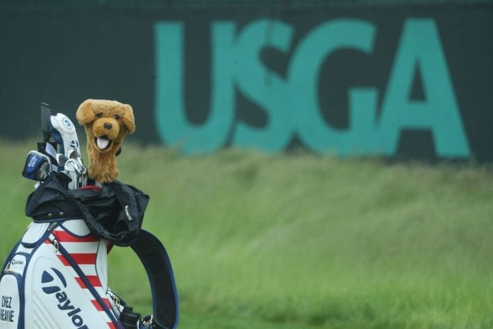 SOUTHAMPTON, NY - JUNE 13: A golf bag belonging to Chez Reavie of the United States is seen alongside a USGA logo during a practice round prior to the 2018 U.S. Open at Shinnecock Hills Golf Club on June 13, 2018 in Southampton, New York. (Photo by Warren Little/Getty Images)
