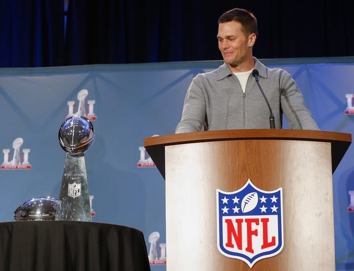 tom brady super bowl trophy patriots