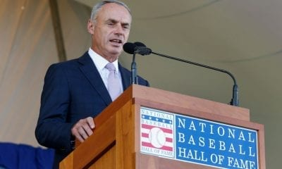 COOPERSTOWN, NY - JULY 29: MLB commissioner Rob Manfred speaks at Clark Sports Center during the Baseball Hall of Fame induction ceremony on July 29, 2018 in Cooperstown, New York. (Photo by Jim McIsaac/Getty Images)