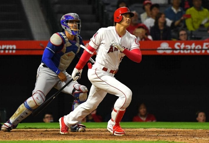 ANAHEIM, CA - SEPTEMBER 24: Shohei Ohtani #17 of the Los Angeles Angels of Anaheim at bat in the game against the Texas Rangers at Angel Stadium on September 24, 2018 in Anaheim, California. (Photo by Jayne Kamin-Oncea/Getty Images)