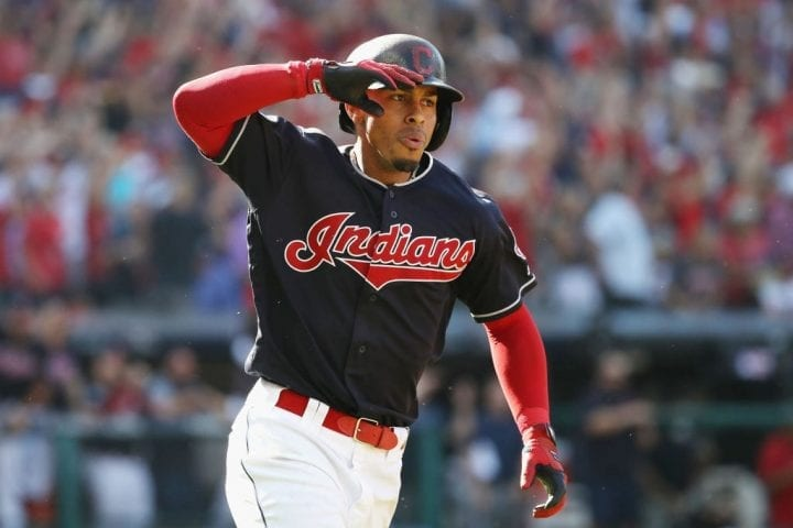 CLEVELAND, OH - OCTOBER 08: Francisco Lindor #12 of the Cleveland Indians reacts as he runs the bases after hitting a solo home run in the fifth inning against the Houston Astros during Game Three of the American League Division Series at Progressive Field on October 8, 2018 in Cleveland, Ohio. (Photo by Gregory Shamus/Getty Images)
