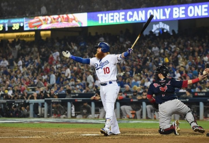 LOS ANGELES, CA - OCTOBER 27: Justin Turner #10 of the Los Angeles Dodgers follows through on a swing during his at-bat in the sixth inning Game Four of the 2018 World Series against the Boston Red Sox at Dodger Stadium on October 27, 2018 in Los Angeles, California. (Photo by Harry How/Getty Images)