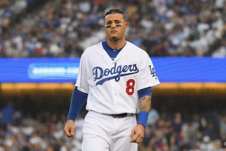 LOS ANGELES, CA - OCTOBER 28: Manny Machado #8 of the Los Angeles Dodgers reacts to his first inning strike out against the Boston Red Sox in Game Five of the 2018 World Series at Dodger Stadium on October 28, 2018 in Los Angeles, California. (Photo by Harry How/Getty Images)